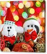 Christmas Dog And Penguin Canvas Print