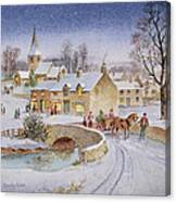 Christmas Eve In The Village  Canvas Print