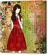 Christmas Eve Mixed Media Folk Artwork Of Young Girl Canvas Print