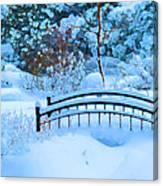 Christmas Eve Storm And The Little Garden Bridge Canvas Print