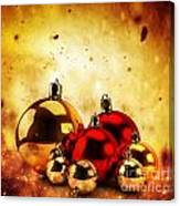Christmas Glass Balls On Winter Gold Background Canvas Print