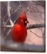 Christmas Greetings - Cardinal Canvas Print