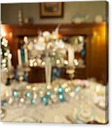 Christmas Holiday Dinner Table Decoration Blurred Canvas Print