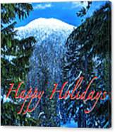 Christmas Holidays Scenic Snow Covered Mountains Looking Through The Trees  Canvas Print
