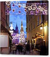 Christmas Illumination On Piwna Street In Warsaw Canvas Print