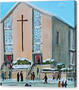 Christmas Mass At Saint Joseph's Church Canvas Print