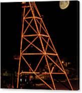 Christmas Moon Over Butte Headframe Canvas Print