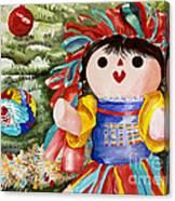 Christmas Muneca Canvas Print