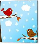 Christmas Red Cardinal Bird Pair Winter Scene Canvas Print