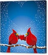 Christmas Red Cardinal Twig Snowing Heart Canvas Print
