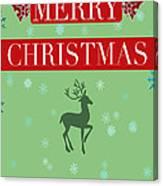 Christmas Reindeer Greeting Card Canvas Print
