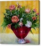 Christmas Roses In Cranberry Glass   Copyrighted Canvas Print