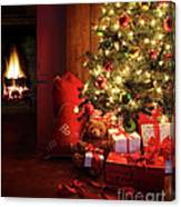 Christmas Scene With Tree And Fire In Background Canvas Print