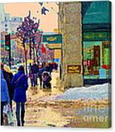 Christmas Shoppers Ogilvys Enchanted Village Window Display A Montreal Xmas Tradition Carole Spandau Canvas Print