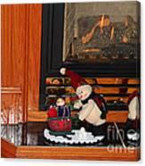 Christmas - Snowmen Collection- Fireplace Canvas Print