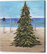 Christmas Tree At The Beach Canvas Print