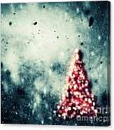 Christmas Tree Glowing On Winter Vintage Background Canvas Print