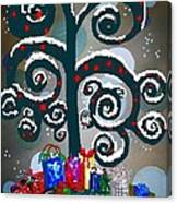 Christmas Tree Swirls And Curls Canvas Print