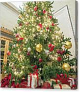 Christmas Tree  With Presents Tall Perspective Canvas Print