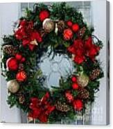 Christmas Wreath Greeting Card Canvas Print