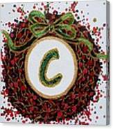 Christmas Wreath Initial C Canvas Print