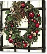 Christmas Wreath On Black Door Canvas Print