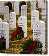 Christmas Wreaths Laid At The Arlington Cemetery Canvas Print