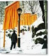 Christo - The Gates - Project For Central Park In Snow Canvas Print