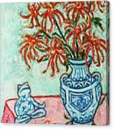 Chrysanthemum And Frog Canvas Print