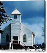 Chuch In The Snow Canvas Print