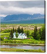 Church And Buildings National Park Pingvellir Iceland Canvas Print