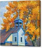Church And Cottonwoods Canvas Print