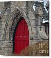 Church And The Red Door Canvas Print