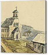 Church At Rejkjavik Iceland 1862 Canvas Print