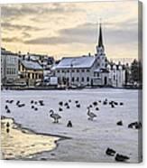 Church By Tjornin Pond Canvas Print