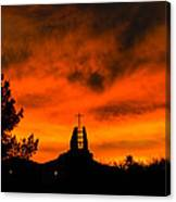 Church Cross Lit By Tucson Sunset Canvas Print