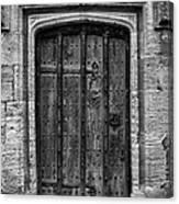 Church Door Bw Canvas Print