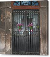 Church Doors And Flowers Canvas Print