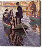 Church-goers In A Boat Canvas Print
