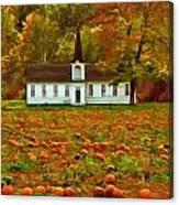 Church In A Pumpkin Patch Canvas Print