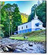 Church In The Mountains By The River Canvas Print