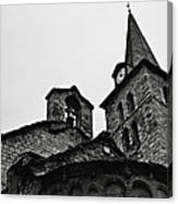 Church Of The Assumption Of Mary In Bossost - Abse And Tower Bw Canvas Print