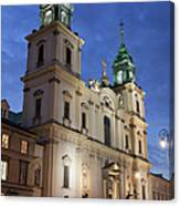 Church Of The Holy Cross At Night In Warsaw Canvas Print