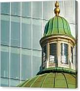Church Roof With Office Block Canvas Print