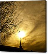 Church Steeple Clouds Parting Canvas Print