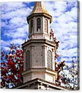 Church Steeple In Autumn Blue Sky Clouds Fine Art Prints As Gift For The Holidays Canvas Print