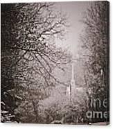 Church Steeple In The Snow Canvas Print
