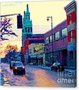 Church Street In Winter Melting Snow Sunset Reflections Montreal Urban City Landscape Scene Cspandau Canvas Print