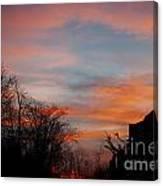 Church With Orange Sky Canvas Print