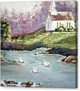 Church With Pond Canvas Print